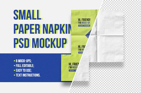 Small Paper Napkin PSD Mock-Graphicriver中文最全的素材分享平台