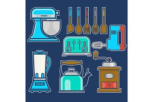 Kitchen and cooking vintage elements.Vector set of kitchenware kitchen unit, kettle, coffee mill, mixer, liquidizer, toaster.