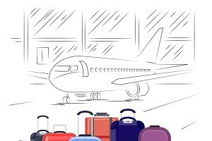 Airport luggage vector illustration