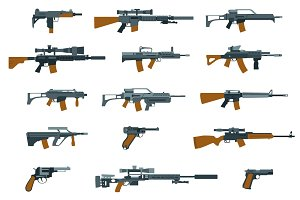 Weapons flat icons