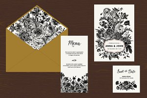 Wedding Set. B&W Floral Illustration