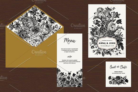 Wedding Set. B&W Floral Illustration - Illustrations
