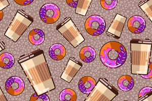 Pattern configures donuts and coffee