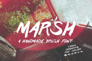 Marsh Hand Drawn Brush Font + Bonus