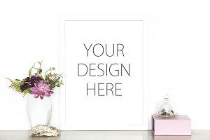 White frame mockup - artwork mock up