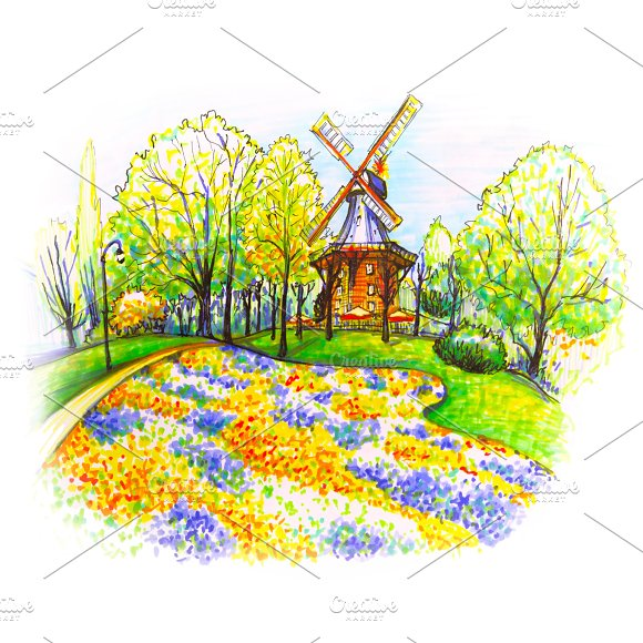 Am Wall Windmill In Bremen Germany