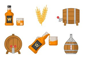 Whisky flat line art vector icons