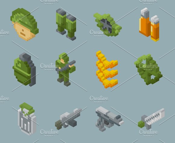 Pixel Soldiers And Weapons Icons