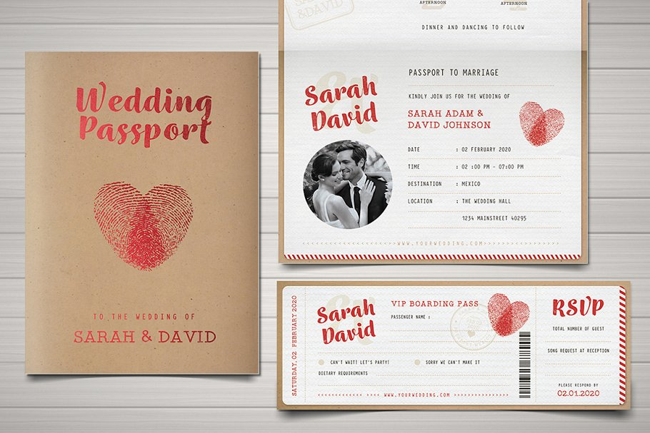 Vintage Passport Wedding Invitation | Creative Wedding Templates ...