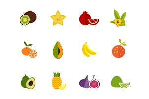 Seasonal fruit icon set
