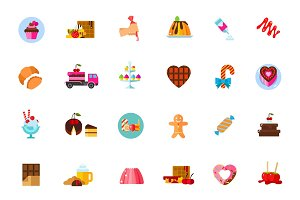 Sugar food icon set
