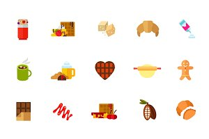 Sweet snack icon set
