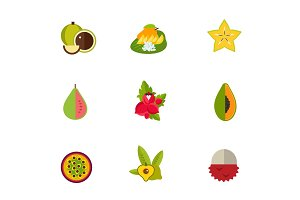 Tropical fruit icon set