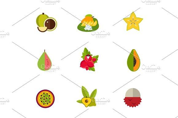 Tropical Fruit Icon Set