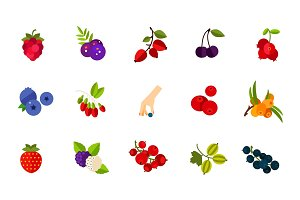 Wild berries icon set