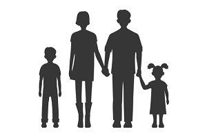 Family Silhouette Set. Vector