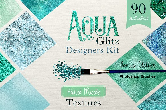 Aqua Glitz Designer Kit-Graphicriver中文最全的素材分享平台