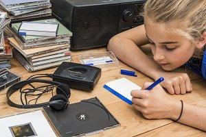 Girl listening to nineties music