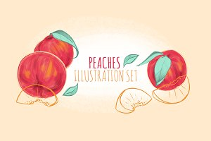 Peaches Illustration Set