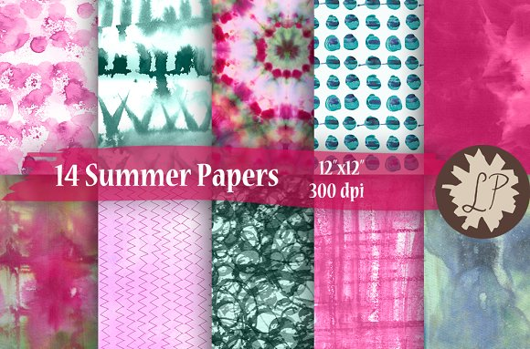 14 Pink And Green Summer Papers