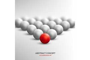 Abstract leadership concept with red ball