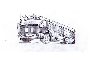 Fire truck, pencil illustration