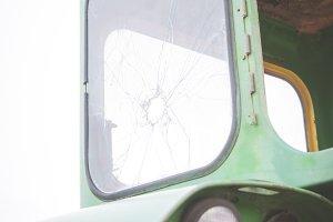 Broken Tractor Window