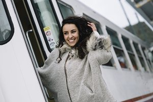 attractive girl in the train