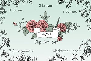 Roses Clip Art Set