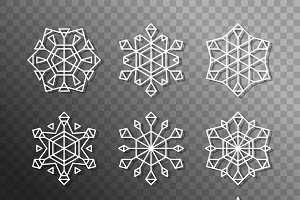 9 different 3d Snowflakes