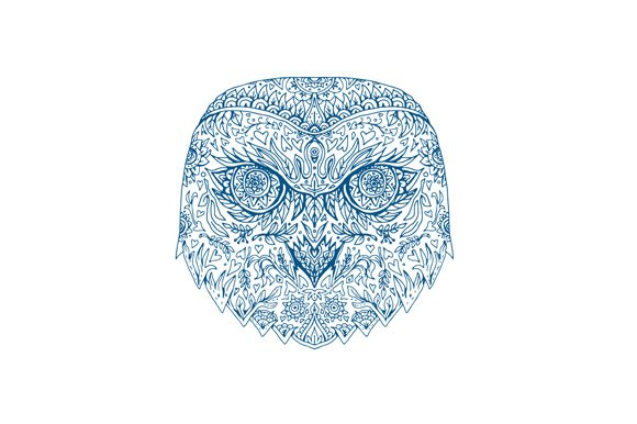 Snowy Owl Head Mandala