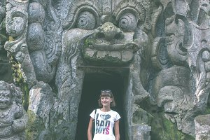 Ancient ruined cave temple Goa Gajah, Ubud, Bali. Elephant temple on Bali island.