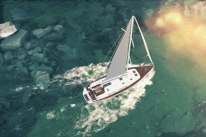 Aerial view of luxury medium cruise ship sailing from port on sunrise through the bay. 3d illustration
