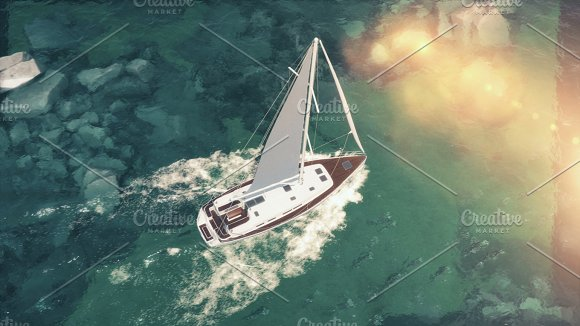 Aerial View Of Luxury Medium Cruise Ship Sailing From Port On Sunrise Through The Bay 3D Illustration