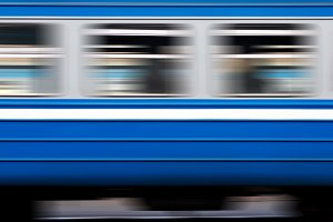 windows of moving electric train