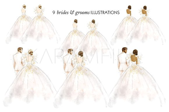 Wedding Clipart Bride Groom Illustrations Creative Market