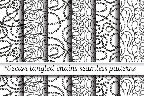 Vector Tangled Chains Patterns Set