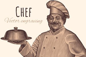 Chef. Vector engraving