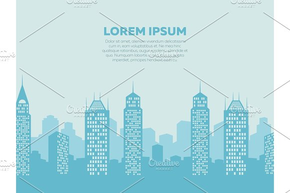 City Landscape Background Poster With Downtown Silhouettes