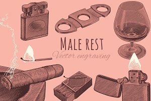 Set Male rest. Vector engraving