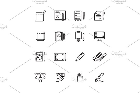 Graphic Design And Writing Tools Line Icons Set