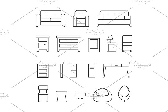Living Room Furniture Line Icons Set