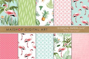 Digital Paper - Pink flamingo