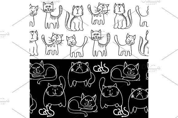 Black And White Doodle Cats Seamless Borders