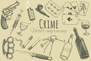 Set Crime. Vector engraving