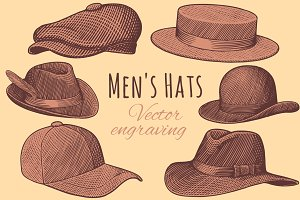 Set Men's Hats. Vector engraving