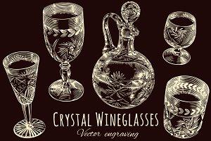 Crystal Wineglasses.Vector engraving