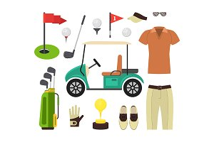 Golf Equipment Set. Vector