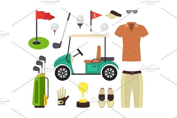 Golf Equipment Set Vector