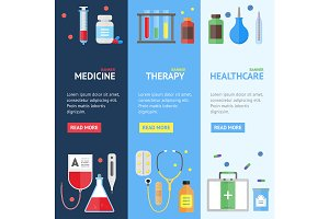 Medical Service Banner Set. Vector